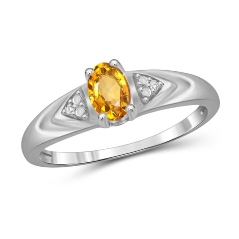 JewelonFire 1/2 Carat T.G.W. Citrine And 1/20 Carat T.W. White Diamond Sterling Silver Ring - Assorted Colors