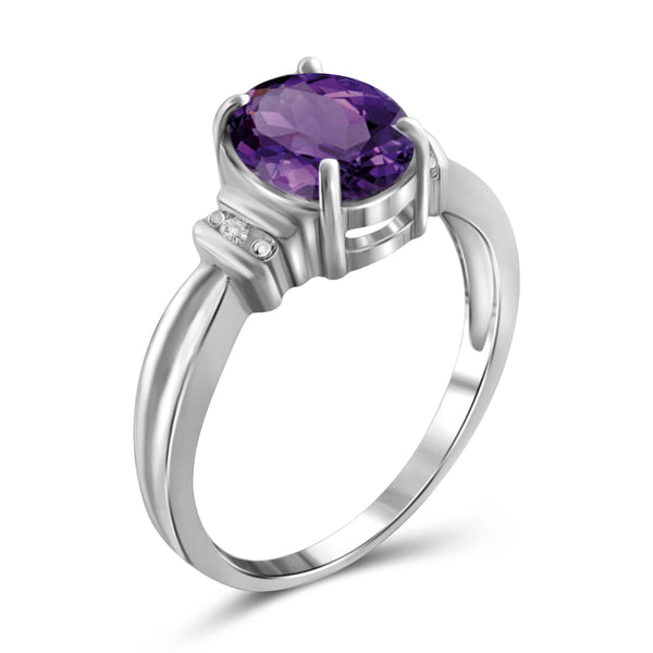 JewelonFire 1.60 Carat T.G.W. Amethyst and White Diamond Accent Sterling Silver Ring - Assorted Colors