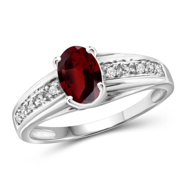 JewelonFire 1.00 Carat T.G.W. Garnet And 1/20 Carat T.W. White Diamond Sterling Silver Ring - Assorted Colors