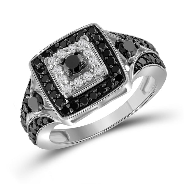 JewelonFire 1 Carat T.W. Black And White Diamond Sterling Silver Square Ring