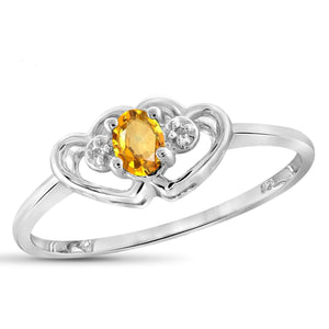 JewelonFire 1/5 Carat T.G.W. Citrine And White Diamond Accent Sterling Silver Ring - Assorted Colors