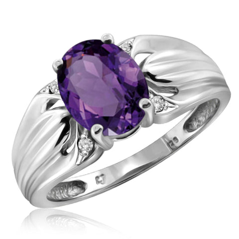 JewelonFire 1.60 Carat T.G.W. Amethyst And 1/20 Carat T.W. White Diamond Sterling Silver Ring - Assorted Colors