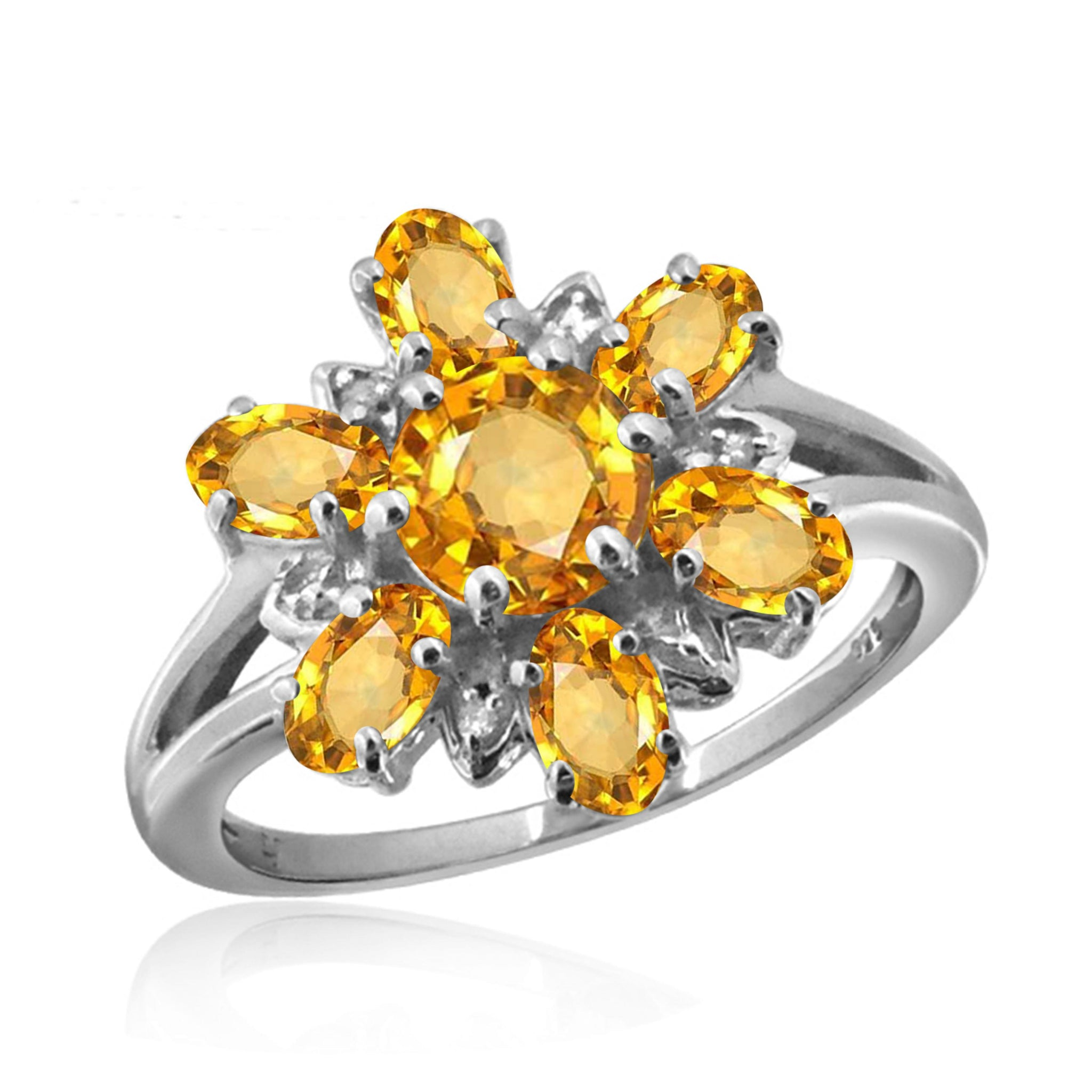 JewelonFire 2.00 Carat T.G.W. Citrine And White Diamond Accent Sterling Silver Ring - Assorted Colors