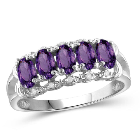 JewelonFire 1.00 Carat T.G.W. Amethyst And 1/20 Carat T.W. White Diamond Sterling Silver Ring - Assorted Colors