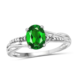 JewelersClub 1.15 Carat T.G.W. Chrome Diopside and White Diamond Accent Sterling Silver Ring - Assorted Colors