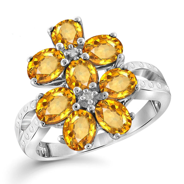 JewelersClub 1 3/4 Carat T.G.W. Citrine And White Diamond Accent Sterling Silver Ring - Assorted Colors