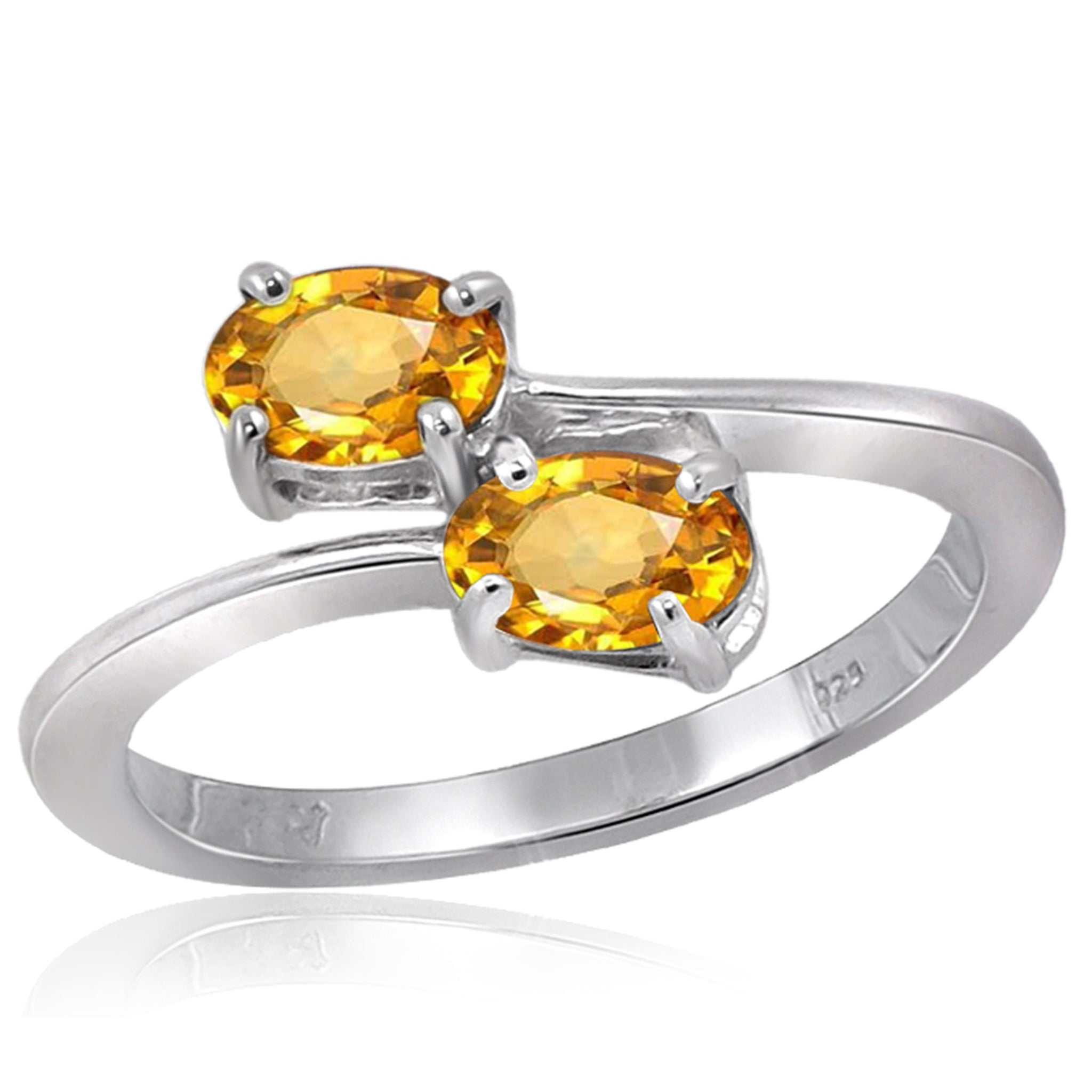JewelersClub 1.00 Carat T.G.W. Citrine Sterling Silver Two Stone Ring - Assorted Colors