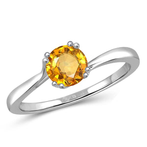 JewelonFire 1/2 Carat T.G.W. Citrine Sterling Silver Ring - Assorted Colors