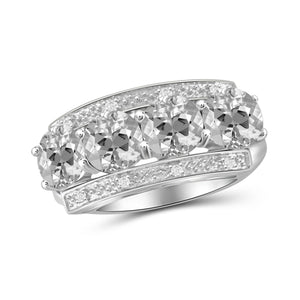 JewelonFire 3 3/4 Carat T.G.W. White Topaz And White Diamond Accent Sterling Silver Ring - Assorted Colors