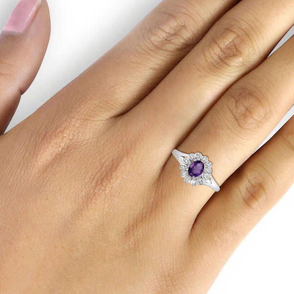 JewelersClub 1/4 Carat T.G.W. Amethyst And 1/20 Carat T.W. White Diamond Sterling Silver Ring - Assorted Colors