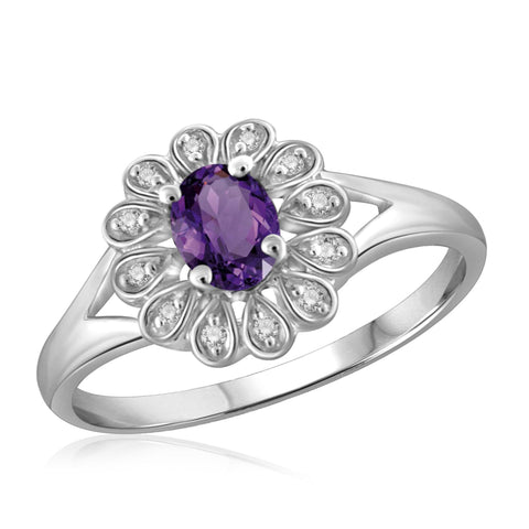 JewelonFire 1/4 Carat T.G.W. Amethyst And 1/20 Carat T.W. White Diamond Sterling Silver Ring - Assorted Colors