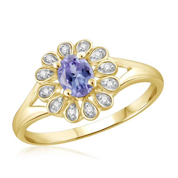 JewelonFire 0.20 Carat T.G.W. Tanzanite and 1/20 ctw White Diamond Sterling Silver Ring - Assorted Colors