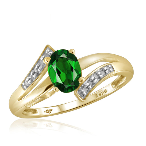 JewelonFire 0.80 Carat T.G.W. Chrome Diopside and 1/20 ctw White Diamond Sterling Silver Ring - Assorted Colors