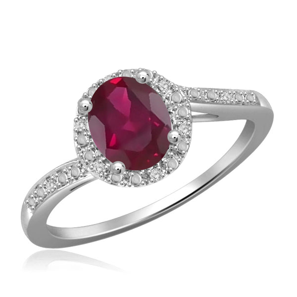 JewelonFire 0.90 Carat T.G.W. Ruby and 1/20 ctw White Diamond Sterling Silver Ring - Assorted Colors