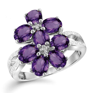 JewelonFire 1 3/4 Carat T.G.W. Amethyst And White Diamond Accent Sterling Silver Ring - Assorted Colors