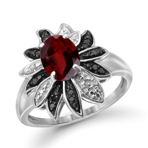 JewelersClub 1 1/2 Carat T.G.W. Garnet And 1/10 Carat T.W. Black & White Diamond Sterling Silver Ring - Assorted Colors