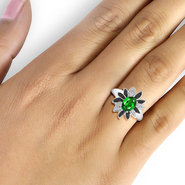 JewelonFire 1.15 Carat T.G.W. Chrome Diopside and 1/10 ctw Black and White Diamond Sterling Silver Ring - Assorted Colors