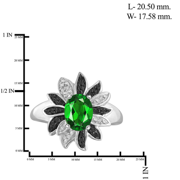 JewelersClub 1.15 Carat T.G.W. Chrome Diopside and 1/10 ctw Black and White Diamond Sterling Silver Ring - Assorted Colors