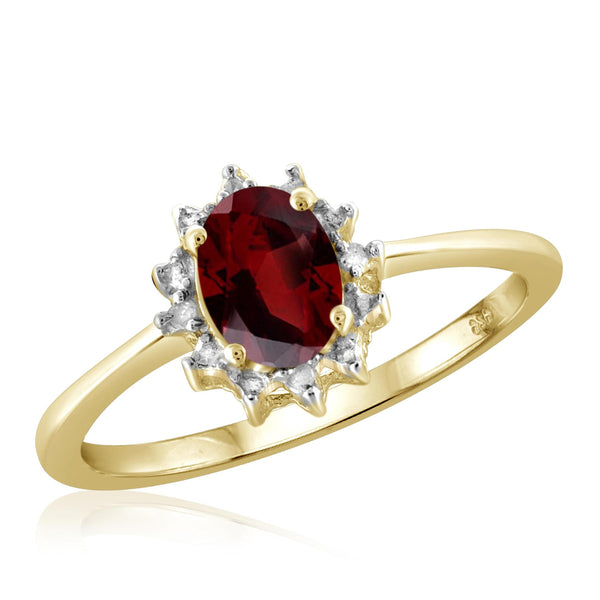 JewelersClub 1.00 Carat T.G.W. Garnet And White Diamond Accent Sterling Silver Ring - Assorted Colors