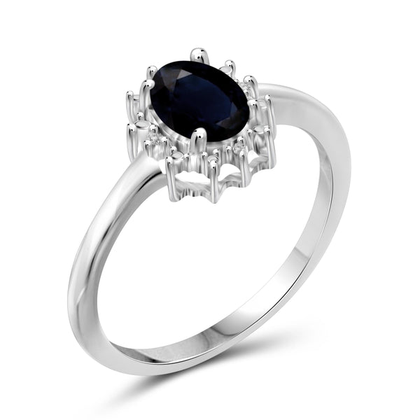 JewelonFire 1.00 Carat T.G.W. Sapphire and White Diamond Accent Sterling Silver Ring - Assorted Colors