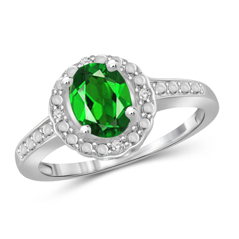 JewelersClub 1.15 Carat T.G.W. Chrome Diopside and 1/20 ctw White Diamond Sterling Silver Ring - Assorted Colors