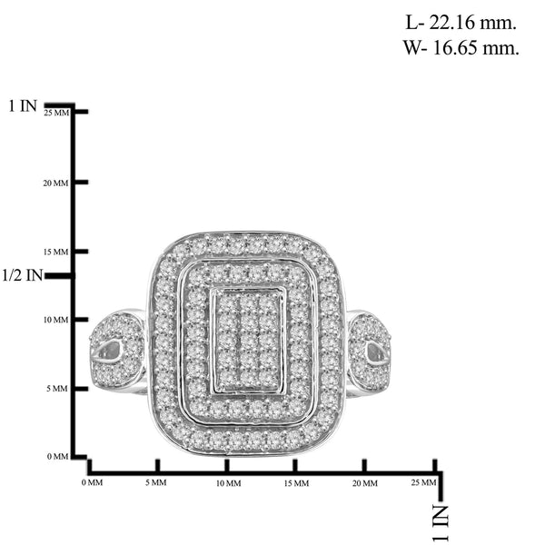JewelersClub 1 Carat T.W. White Diamond Sterling Silver Dual Square Ring
