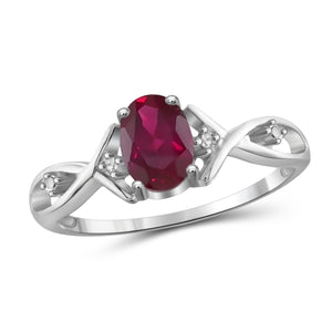 JewelonFire 0.90 Carat T.G.W. Ruby and White Diamond Accent Sterling Silver Ring - Assorted Colors