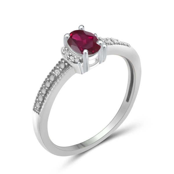 JewelonFire 0.45 Carat T.G.W. Ruby and 1/20 ctw White Diamond Sterling Silver Ring - Assorted Colors