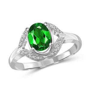JewelonFire 1.15 Carat T.G.W. Chrome Diopside and White Diamond Accent Sterling Silver Ring - Assorted Colors