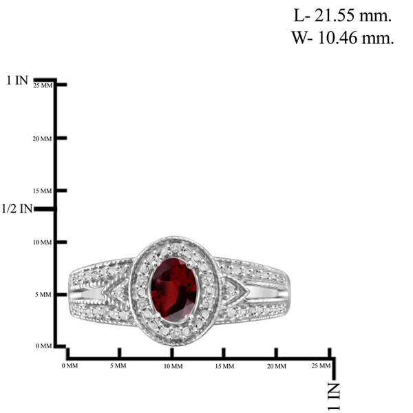 JewelonFire 1/2 Carat T.G.W. Garnet And White Diamond Accent Sterling Silver Ring - Assorted Colors