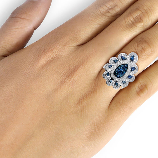 JewelersClub 1 Carat T.W. Blue And White Diamond Sterling Silver Vintage Halo Ring