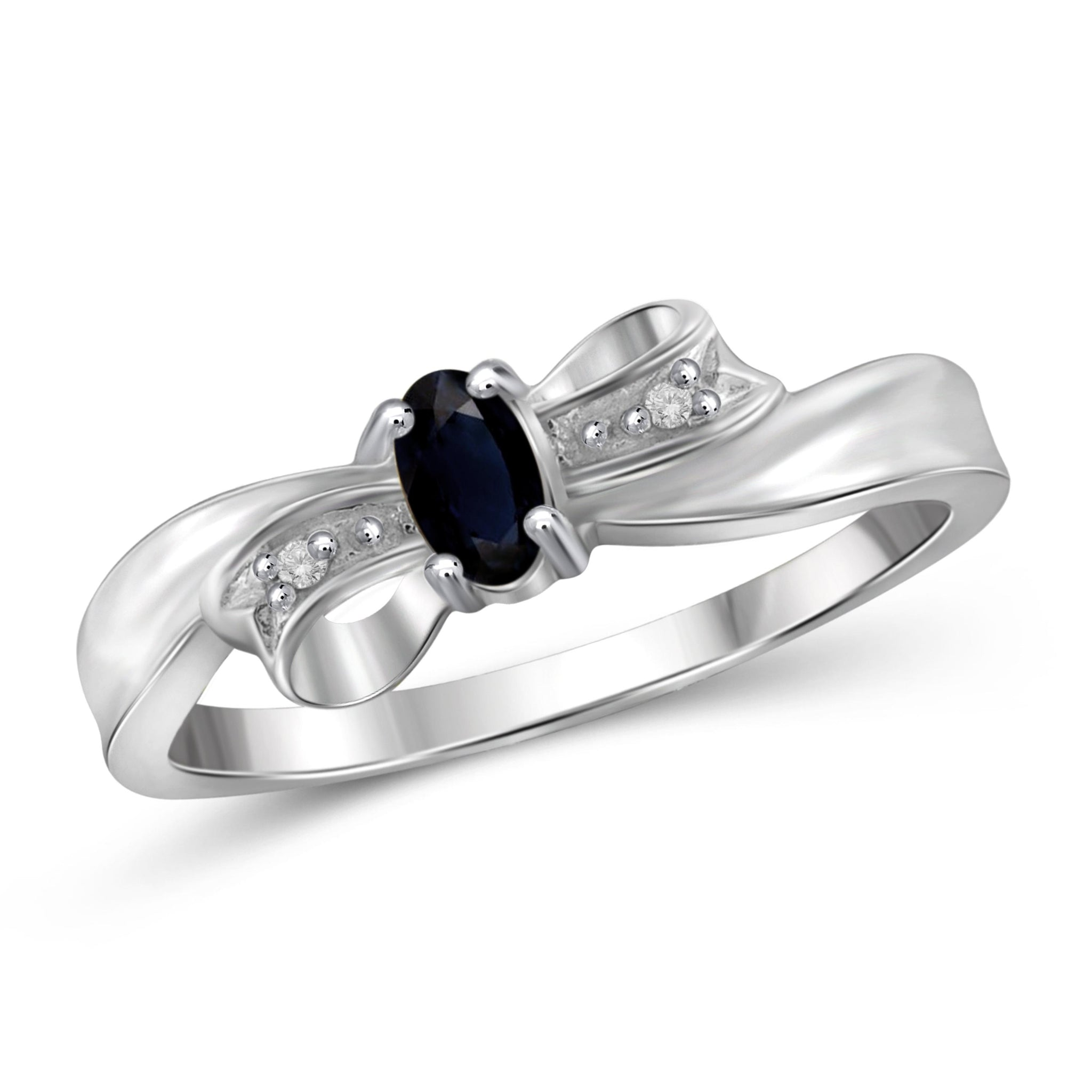 JewelonFire 0.30 Carat T.G.W. Sapphire and White Diamond Accent Sterling Silver Ring - Assorted Colors