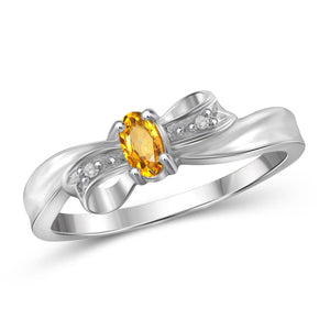 JewelonFire 1/4 Carat T.G.W. Citrine And White Diamond Accent Sterling Silver Ring - Assorted Colors