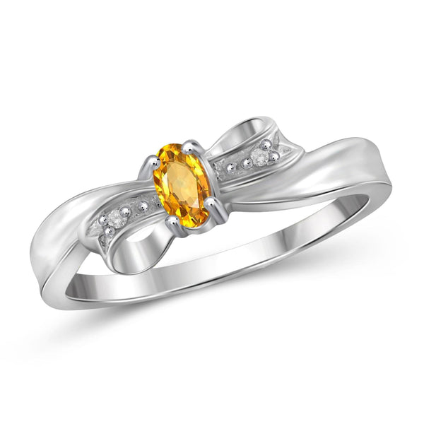JewelersClub 1/4 Carat T.G.W. Citrine And White Diamond Accent Sterling Silver Ring - Assorted Colors