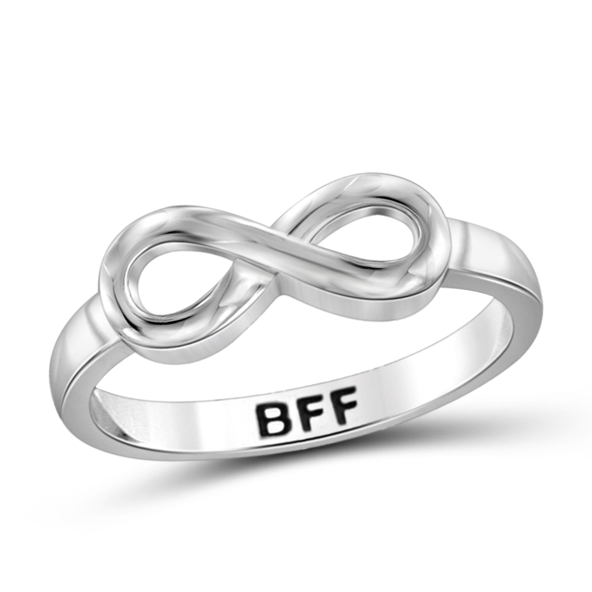 JewelonFire Sterling Silver Infinity Friendship Ring for Women | Personalized BFF Promise Eternity Knot Symbol Band