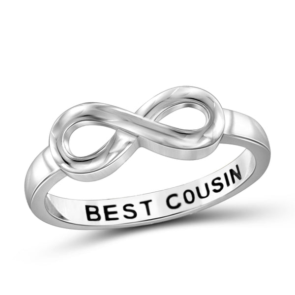 JewelonFire Sterling Silver Infinity Friendship Ring for Women | Personalized Best Cousin Promise Eternity Knot Symbol Band
