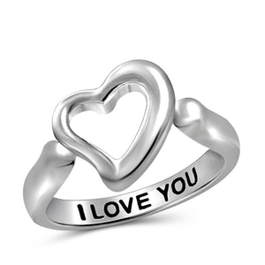 "JewelersClub ""I Love You"" Sterling Silver Heart Ring - Assorted Color"