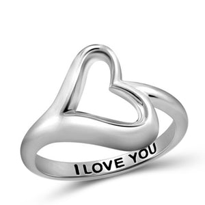 "JewelonFire ""I Love You"" Sterling Silver Heart Ring - Assorted Color"