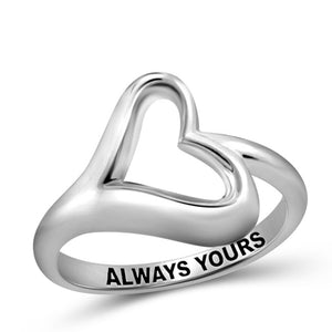JewelonFire Sterling Silver Infinity Friendship Ring for Women | Personalized Always Yours Promise Eternity Knot Symbol Band