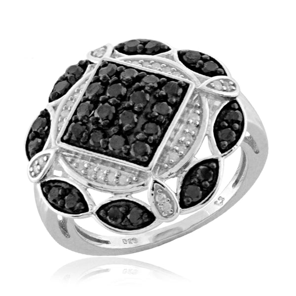 JewelersClub 1 Carat T.W. Black And White Diamond Sterling Silver Cocktail Ring