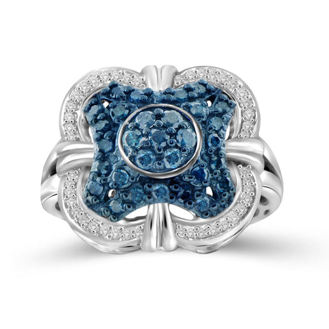 JewelersClub 1 Carat T.W. Blue And White Diamond Sterling Silver Clover Halo Ring