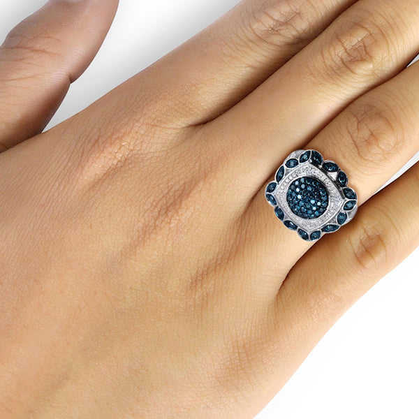 JewelersClub 1 Carat T.W. Blue And White Diamond Sterling Silver Square Halo Ring