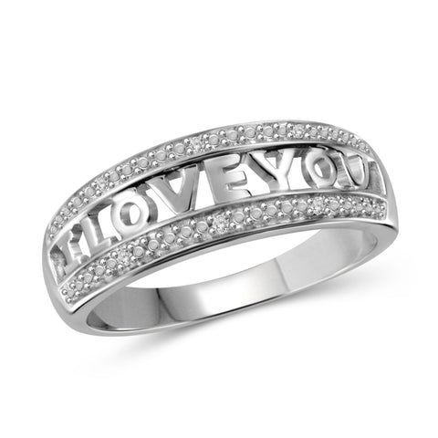 JewelonFire White Diamond Accent Sterling Silver I Love You Ring - Assorted Colors