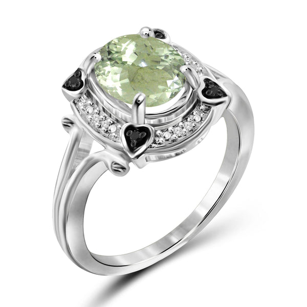 JewelonFire 1.85 Carat T.G.W. Green Amethyst And 1/20 Carat T.W. Black & White Diamond Sterling Silver Ring - Assorted Colors