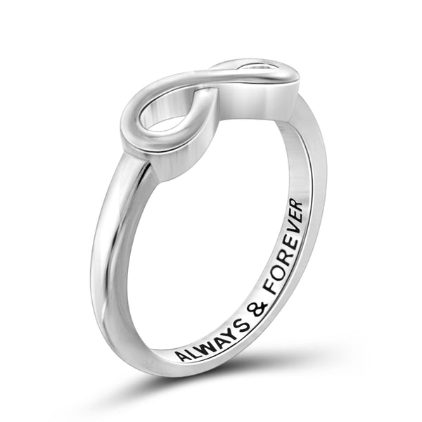 JewelonFire Sterling Silver Infinity Friendship Ring for Women | Personalized Always & Forever Promise Eternity Knot Symbol Band