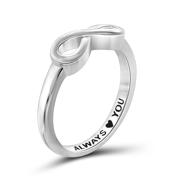 JewelonFire Sterling Silver Infinity Friendship Ring for Women | Personalized Always Love You Promise Eternity Knot Symbol Band