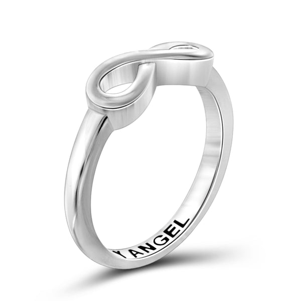 JewelonFire Sterling Silver Infinity Friendship Ring for Women | Personalized My Angel Promise Eternity Knot Symbol Band