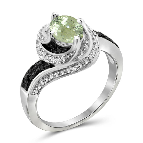 JewelersClub 1 1/3 Carat T.G.W. Green Amethyst And 1/10 Carat T.W. Black & White Diamond Sterling Silver Ring - Assorted Colors