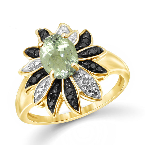 JewelonFire 1 1/3 Carat T.G.W. Green Amethyst And 1/10 Carat T.W. Black & White Diamond Sterling Silver Ring - Assorted Colors