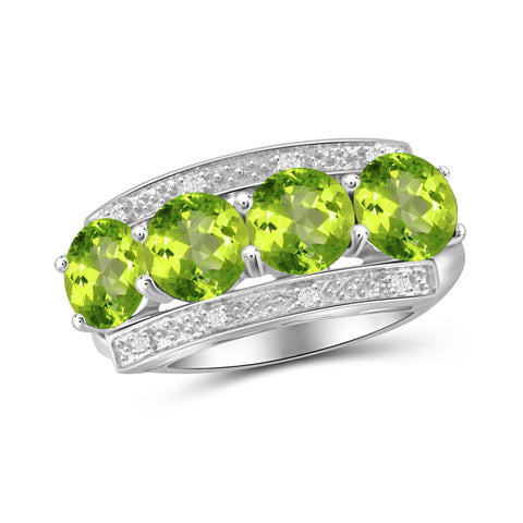 JewelonFire 3.00 Carat T.G.W. Peridot And White Diamond Accent Sterling Silver Ring - Assorted Colors